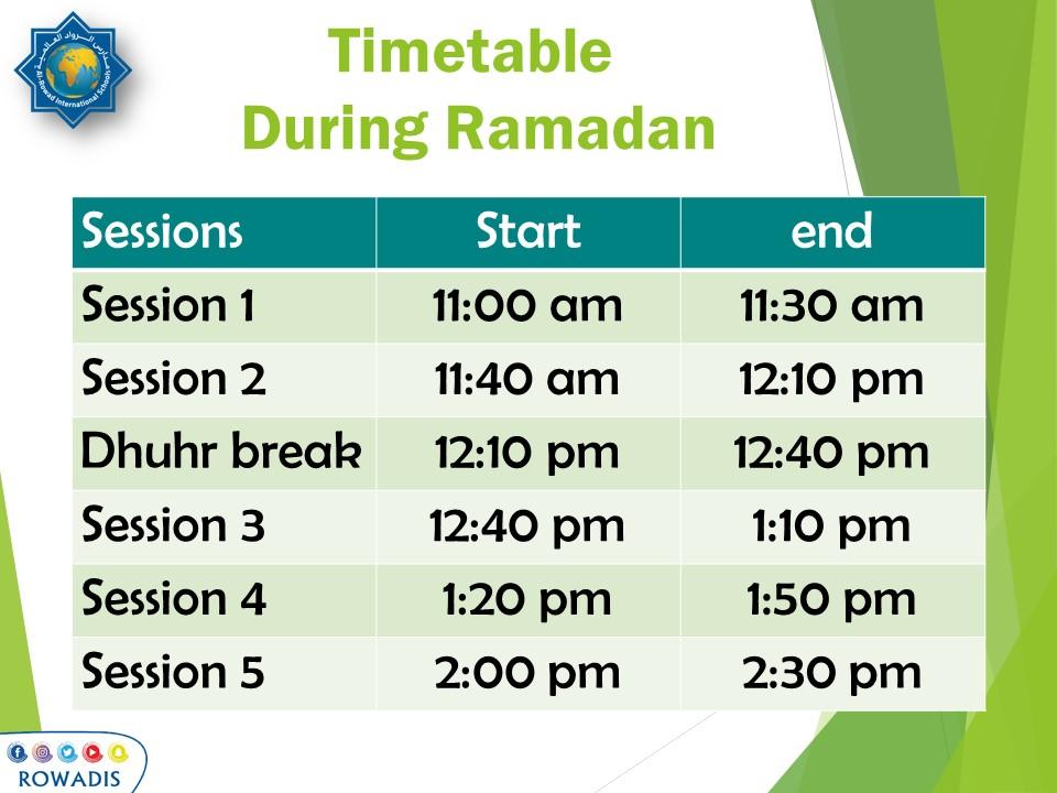 timetable during ramadan